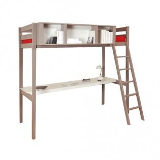 Lit mezzanine LOU 90x190 + 1 sommier + bureau + rangement 3 niches / Gris Taupe