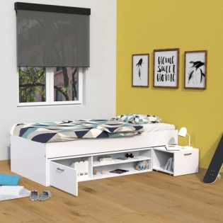Lit TESS 90x200 + chevet + étagère + rangement / Blanc