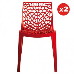Lot de 2 chaises GRUVYER empilables / Rouge