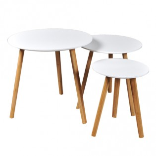Lot de 3 tables basses gigognes VENUS / Blanc