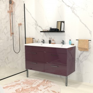 Ensemble meuble sous-vasque + vasque résine MILANO / Aubergine