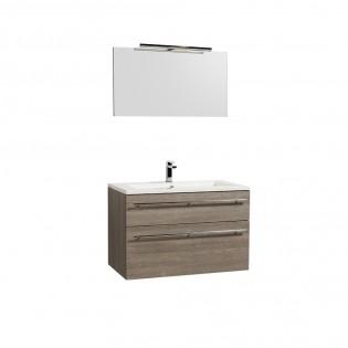 Ensemble meuble sous-vasque 90cm + plan vasque + miroir MAIA / Chêne clair grisé