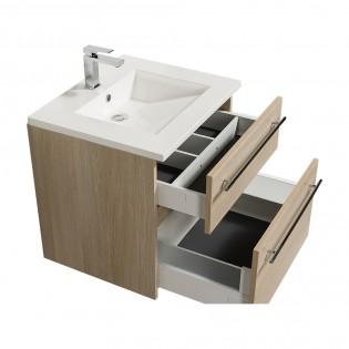 Ensemble meuble sous-vasque 60cm + plan vasque + miroir MAIA / Chêne naturel