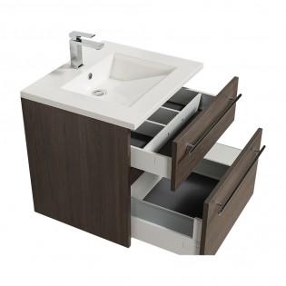 Ensemble meuble sous-vasque 60cm + plan vasque + miroir MAIA / Chêne fumé