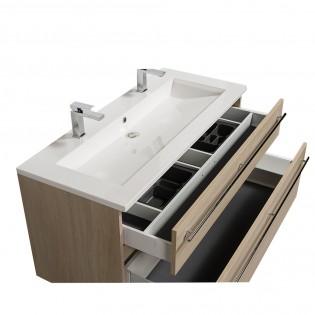 Ensemble meuble sous-vasque 120cm + plan vasque + miroir MAIA / Chêne naturel