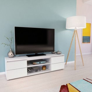 Meuble TV/Vidéo COMO 140cm 2 portes + 1 niche / Blanc