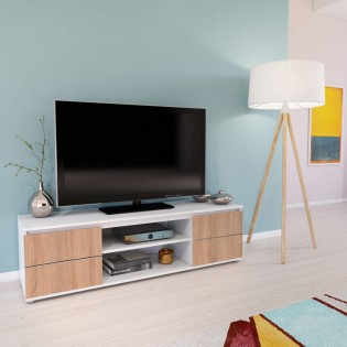 Meuble TV/Vidéo COMO 140cm 2 portes + 1 niche / Blanc et Chêne Blanchi