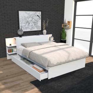 Lit CITY 140x190 + tête de lit chevet  + 1 maxi tiroir / Blanc
