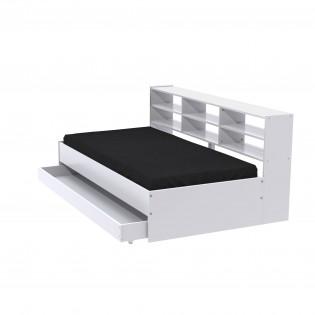 Lit TORONTO 90x190 + 1 sommier + 1 tiroir + étagère/ Blanc