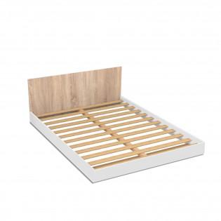 Lit LOFT 140x190 + 1 sommier + tête de lit / Blanc & chêne blanchi