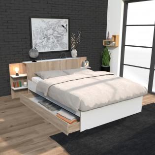 Lit CITY 140x190 + tête de lit chevet  + 1 maxi tiroir / Blanc & chêne blanchi