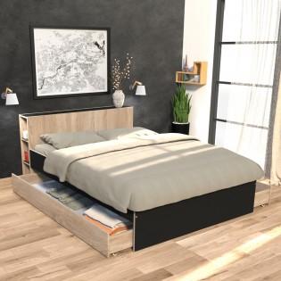 Lit RIGA 140x190cm + tête de lit + 2 tiroirs / Noir et Chêne blanchi