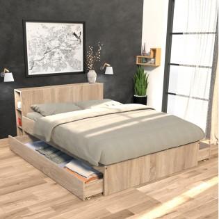 Lit RIGA 140x190cm + tête de lit + 2 tiroirs / Chêne Blanchi