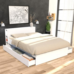 Lit RIGA 160x200cm + tête de lit + 2 tiroirs / Blanc