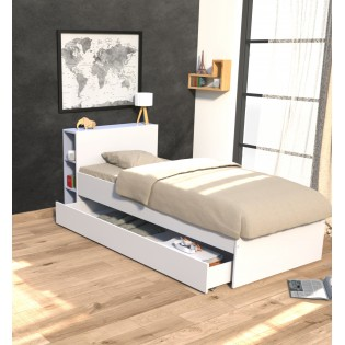 Lit RIGA 90x190 + tête de lit + 1 tiroir / Blanc