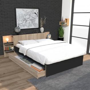 Lit CITY 140x190 + tête de lit chevet+ 1 maxi tiroir / Noir & chêne blanchi