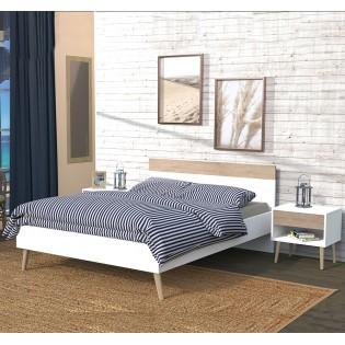 Lit CAMPER 140x190 cm / Blanc & chêne blanchi