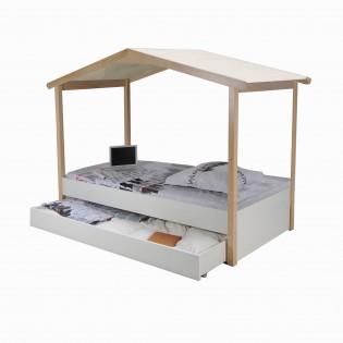 Lit cabane CASTEL 90x190 + 1sommier + tiroir / Blanc et naturel
