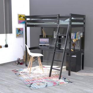 Lit mezzanine STUDIO 90x190 + 1 sommier + caisson 3 tiroirs + bureau + étagère / Noir