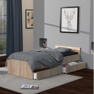 Lit KAPPA 90x190 + 2 tiroirs / Chêne Blanchi