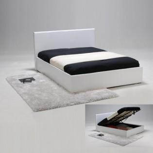 Lit coffre BARCELONA 140x190 + 1 sommier / Blanc