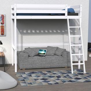 Lit mezzanine STUDIO 90x200 + 1 sommier / Blanc