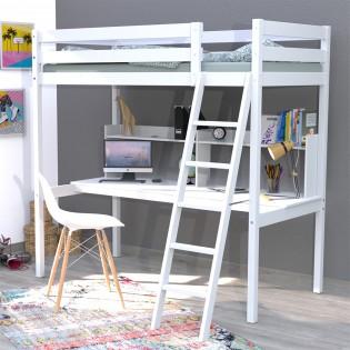 Lit mezzanine STUDIO 90x190 + 1 sommier + bureau + étagère / Blanc