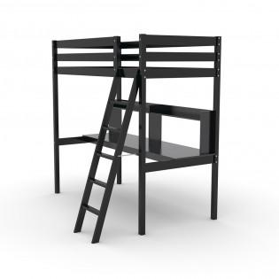 Lit mezzanine STUDIO 90x190 + 1 sommier + bureau + étagère / Noir
