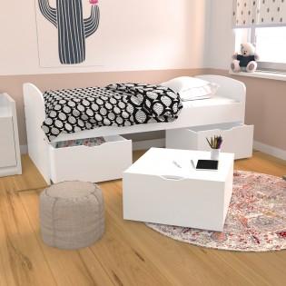 Lit MIA 90x190 + 1 sommier + 2 tiroirs + 1 coffre table basse / Blanc
