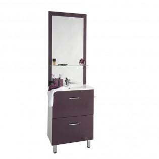 Ensemble meuble sous-vasque + vasque résine + miroir BLUSH / Aubergine