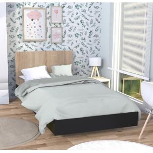 Lit LOFT 90x190 cm + sommier / Noir & chêne blanchi