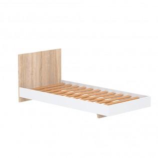 Lit LOFT 90x190 cm + sommier / Blanc & chêne blanchi