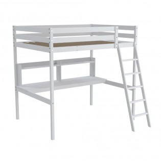 Lit mezzanine STUDIO 140x190 + 1 sommier + bureau + étagère / Blanc