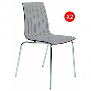 Lot de 2 chaises CANDY empilables / Gris Transparent