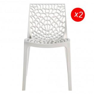 Lot de 2 chaises GRUVYER empilables / Blanc