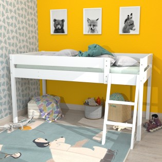 Lit mi-hauteur LAURA 90x200 + 1 sommier / Blanc