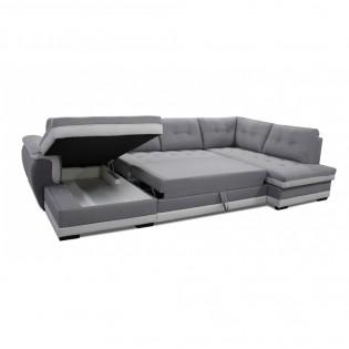 Canapé en U MALIBU convertible + rangements / Gris