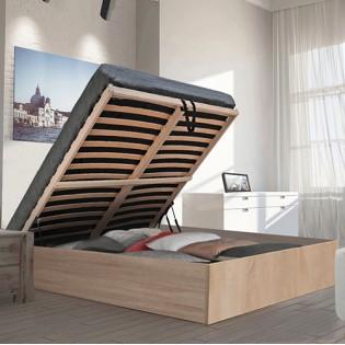 Lit coffre BILBAO 140x190 cm + sommier / chêne blanchi