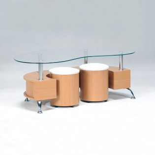 Table basse OMEGA + 2 poufs / Hêtre