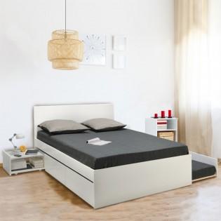 Lit double ALPHA 140x190 + 2 tiroirs + tiroir lit 90x190 avec sommier + chevet / Blanc