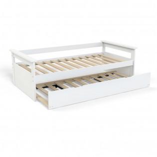 Banquette gigogne TOLEDE 90x190 + 2 sommiers + 1 tiroir-lit / Blanc