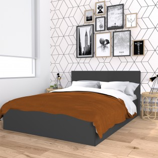 Lit coffre MADRID 160x200 + 1 sommier / Gris anthracite