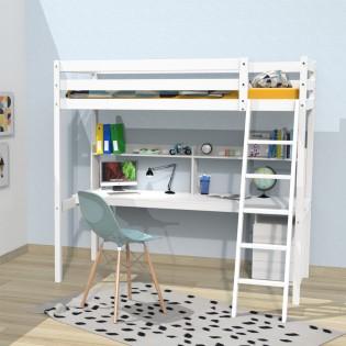 Lit mezzanine STUDIO 90x190 + 1 sommier + caisson 3 tiroirs + bureau + étagère / Blanc