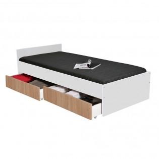 Lit KAPPA 90x190 + 2 tiroirs / Blanc & chêne Blanchi