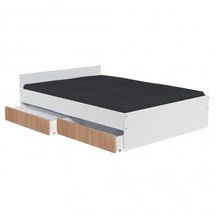 Lit KAPPA 140x190 cm + 2 tiroirs / Blanc & chêne Blanchi
