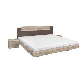 Lit MONZA 140x190cm + tête de lit + 2 chevets / Gris et chêne blanchi