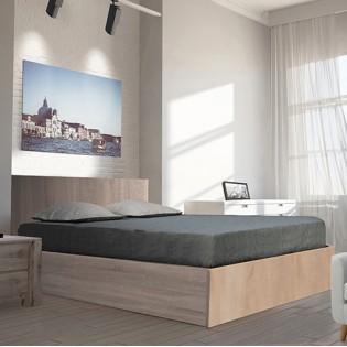 Lit coffre MADRID 140x200 + 1 sommier + 1 matelas mémoire de forme / Chêne Blanchi