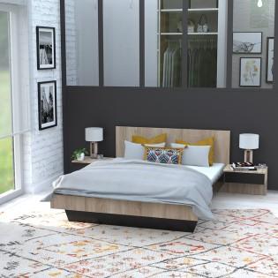 Lit COOL 140x190 cm + 2 chevets + sommier / Noir & chêne blanchi