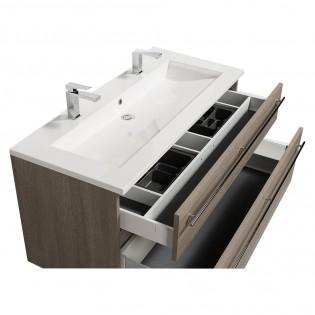 Meuble sous-vasque 120cm + vasque + miroir et éclairage MAIA / Chêne clair grisé