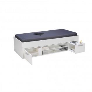 Lit TESS 90x190 + chevet + étagère + rangement / Blanc